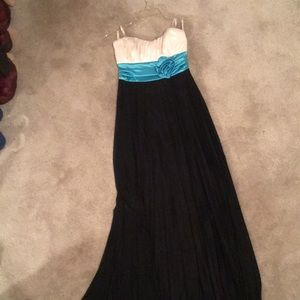 Black, White, and Teal Strapless Formal Dress
